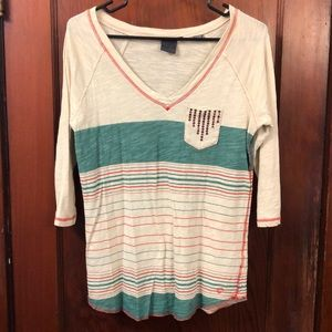 Southern Thread Striped Sequined Shirt